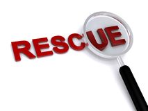 Rescue. 3d rescue text with magnifier on white background stock illustration