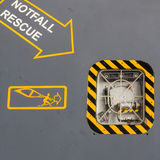Rescue of aircraft. Danger ejection fuselage security  signal Royalty Free Stock Photography