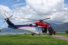 Rescue ambulance helicopter. Landed on helipad near Cairns hospital royalty free stock image