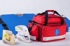Rescue bag, cervical collars and stretcher Royalty Free Stock Photos