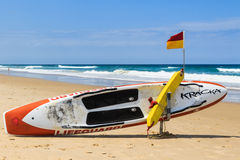 Rescue Board. Surfers Paradise beach rescue flotation devices on standby royalty free stock photo