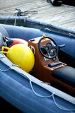 Rescue Boat. Small Rescue Motor Boat. Water Transportation Photo Collection. Vertical Motorboat Photo Royalty Free Stock Image