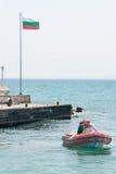 Rescue boat in the Bay of Pomorie in Bulgaria Royalty Free Stock Photo