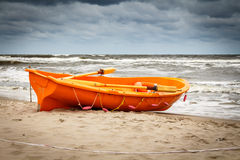 The rescue boat. On the beach in Niechorze Royalty Free Stock Photos