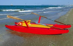 Rescue boat at a beach Royalty Free Stock Photography