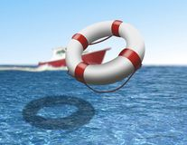 Rescue boat and buoy at sea Royalty Free Stock Image