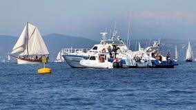 Rescue boat close up in the sea stock video