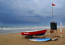 Rescue boat in a cloudy day Royalty Free Stock Photography