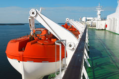 Rescue boat on cruise ship Royalty Free Stock Photo