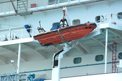 Rescue boat on a cruise ship. A rescue boat ready to go on a cruise ship Royalty Free Stock Photos