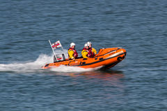 Rescue boat in the Dublin Bay close to the city of Dún Laoghair Royalty Free Stock Images
