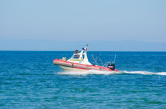 Rescue boat of Emercom at Baikal Royalty Free Stock Photography