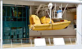 Rescue Boat. Hanging at the ready on a cruise ship Stock Images