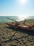 Rescue boat on italian beach Royalty Free Stock Image