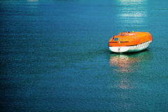 Rescue boat. Launched in water in natural light royalty free stock images