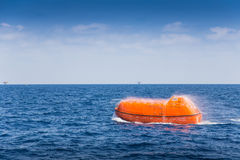 Rescue boat or life boat at oil and gas platform annual sea trial test Stock Photography