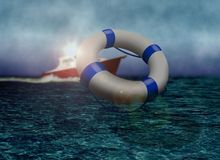 Rescue Boat and Life Buoy at Sea. During Stormy Day Stock Photo