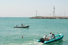 Rescue boat near lighthouse in Pomorie. Bulgaria Stock Photo