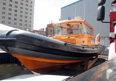 Rescue boat. Orange rescue or coast guard patrol boat. royalty free stock images