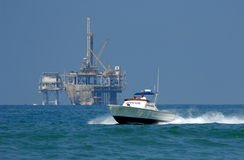 Rescue Boat on Patrol. Rescue Boat Patrols Coast in Southern California Royalty Free Stock Photo