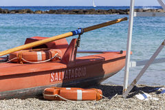 Rescue boat. Ready to use next to the watching tower Royalty Free Stock Images