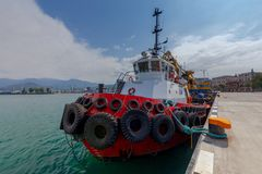 The rescue boat. Red marine boat rescue operations and anti fire works Royalty Free Stock Photo