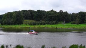 Rescue boat is on river Volkhov stock footage