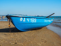 Rescue boat on the Russian coast of the Black Sea. Royalty Free Stock Photos