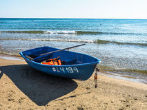 Rescue boat on the Russian coast of the Black Sea. Royalty Free Stock Images
