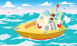 Rescue boat in the sea. Orange rescue boat in the sea Stock Illustration