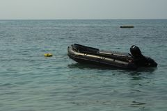 Rescue Boat in the seaof rescue unit to take care of tourist in Royalty Free Stock Photos