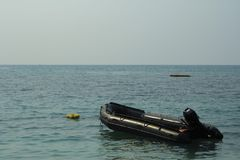 Rescue Boat in the seaof rescue unit to take care of tourist in Royalty Free Stock Photo