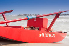 Rescue boat on the seashore of a beach Royalty Free Stock Images