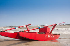 Rescue boat on the seashore of a beach Stock Photos