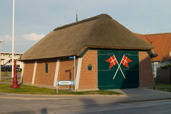 Rescue boat station. Old rescue boat station in Blokhus with thatched roof Stock Image