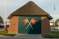 Rescue boat station. Old rescue boat station in Blokhus with thatched roof Royalty Free Stock Images