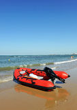 Rescue boat on the Victoria beach, Cadiz, Andalusia, Spain Royalty Free Stock Image
