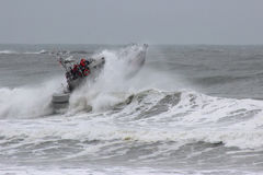 Rescue Boat in Waves-009. Rescue boat training in rough seas Royalty Free Stock Images