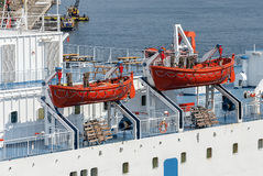 Rescue boats on big passenger cruise ship, sea Royalty Free Stock Photos