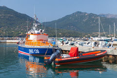 Rescue boats moored in Propriano, Corsica. Propriano, France - July 3, 2015: Colorful rescue boats moored in Propriano resort town, Corsica, France Stock Photos