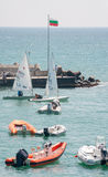 Rescue boats at sailing competitions in Pomorie, Bulgaria Royalty Free Stock Photography
