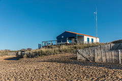 Rescue booth of the Paracou beach in La Chaume Royalty Free Stock Images