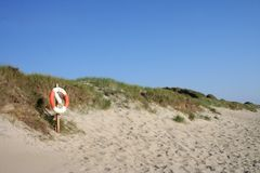 Rescue buoy. At a beach Stock Image