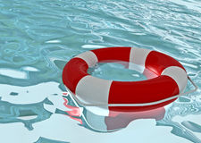 Rescue buoy. And ocean water Royalty Free Stock Image
