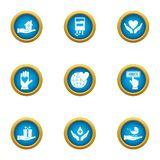 Rescue children icons set, flat style. Rescue children icons set. Flat set of 9 rescue children vector icons for web isolated on white background royalty free illustration