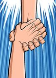 Rescue. Conceptual illustration about rescue. Close up of two hands: a hand is grabbing the hand of a man who was falling down. Available in vector EPS format vector illustration