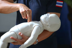 Rescue and CPR training to first aid. Royalty Free Stock Image
