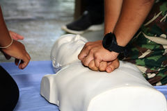 Rescue and CPR training to first aid and life guard. Stock Images