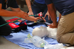 Rescue and CPR training to first aid. stock photography