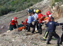 Rescue of a deadly helicopter crash in the Spanish island of Mallorca Stock Image